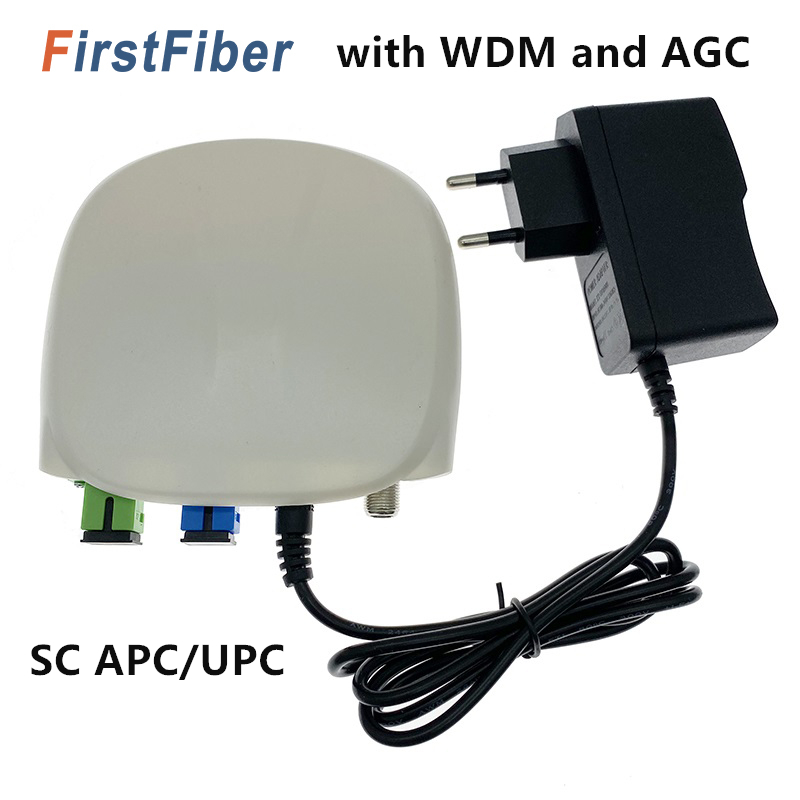 FTTH Fiber Optical Receiver SC APC/UPC With WDM And AGC Mini Node Indoor Optical Receiver With White Plastic Case
