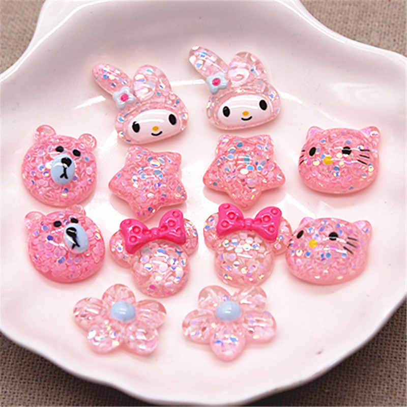 20pcs Cute Glitter Pink Resin Star/Flower/Bear Cartoon Animal Flatback Cabochons DIY Hair Clip Decoration,about 17mm