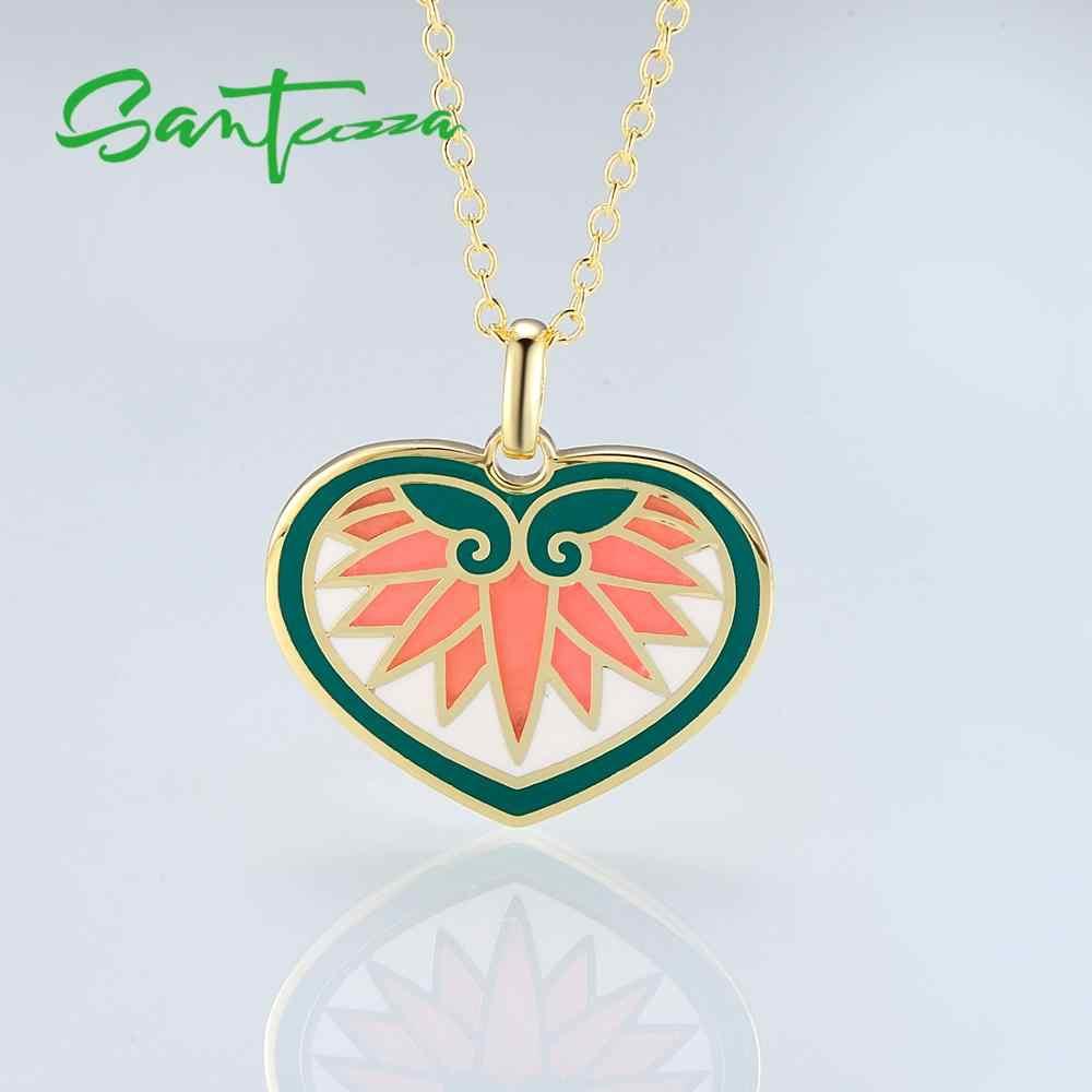 SANTUZZA collier en laiton pour femme coloré coeur forme pendentif collier à la main émail fête bijoux de mode