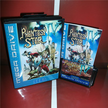 Phantasy Star 4 cubierta de la UE con caja y Manual para Sega Megadrive Genesis, consola de videojuegos, tarjeta MD de 16 bits