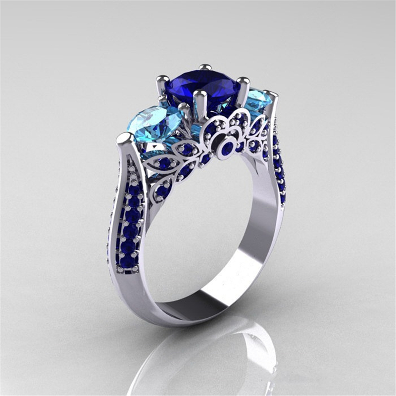 Blue Sapphire Anillo De Ring With Diamonds For Women Bizuteria Of Bague Or Jaune Amethyst Diamante Obsidian Jade Ring 6 7 8 9 10