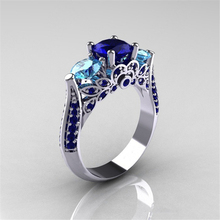 Blue Sapphire Anillo De Ring with Diamonds for Women Bizuteria of Bague or Jaune Amethyst Diamante Obsidian Jade 6 7 8 9 10