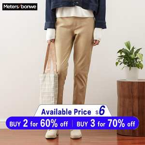 Harems-Pants Trousers Woman Stretch-Waist Office Metersbonwe Long High-Quality Casual