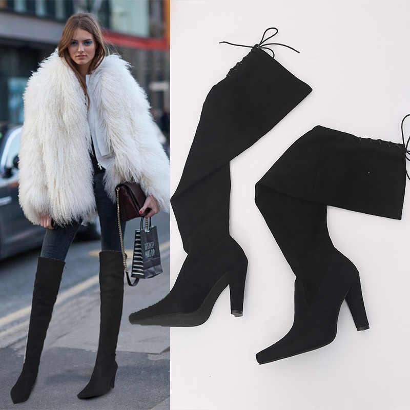WDHKUN Bota Feminina femmes cuisse haute botte mode daim cuir talons hauts à lacets femme sur le genou bottes femmes Plus taille 43