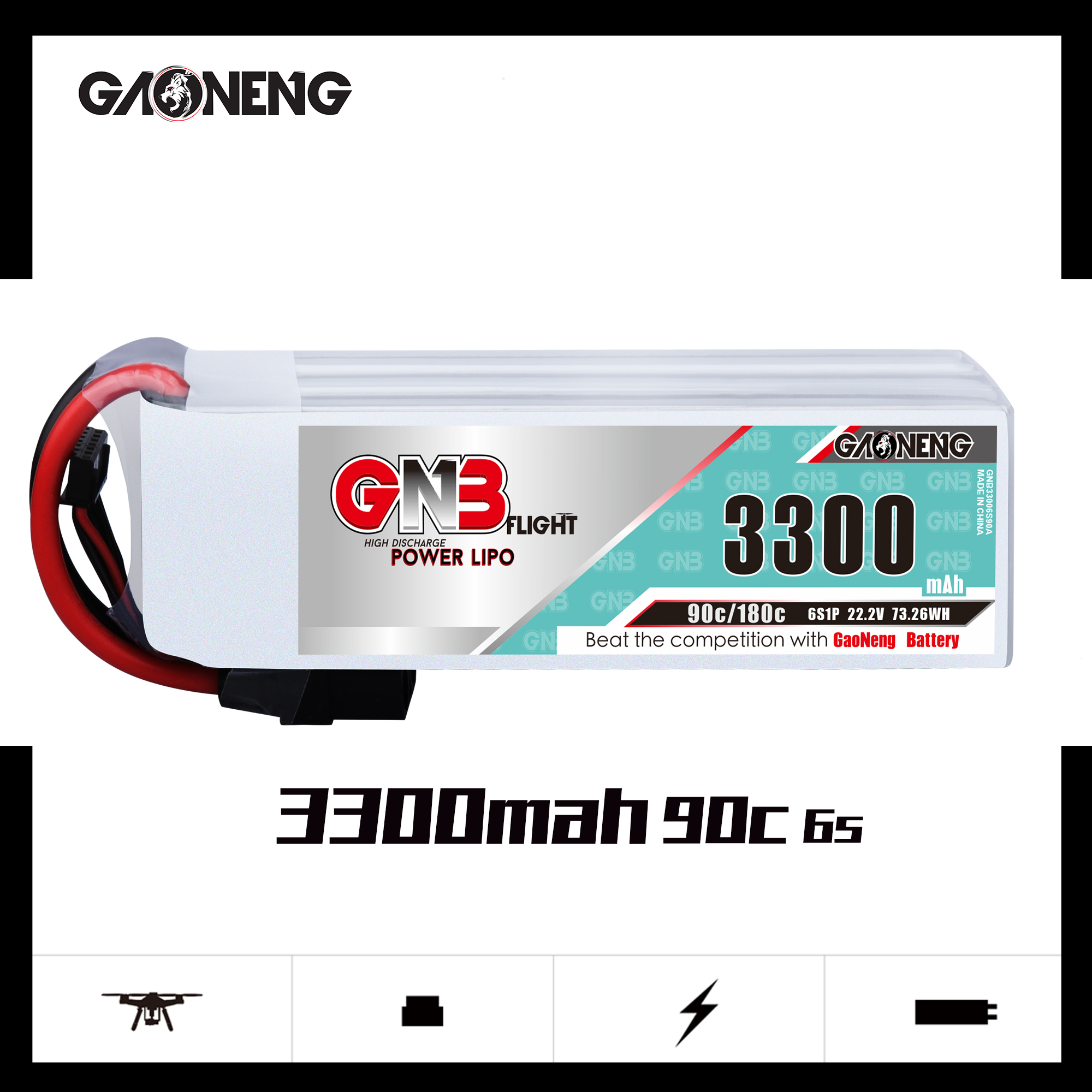 Gaoneng GNB 3300mAh 6S 22.2V 90C XT60 XT90 XT150 T Plug For RC FPV Racing Drone Quadcopter Airplane RC Car Helicopter