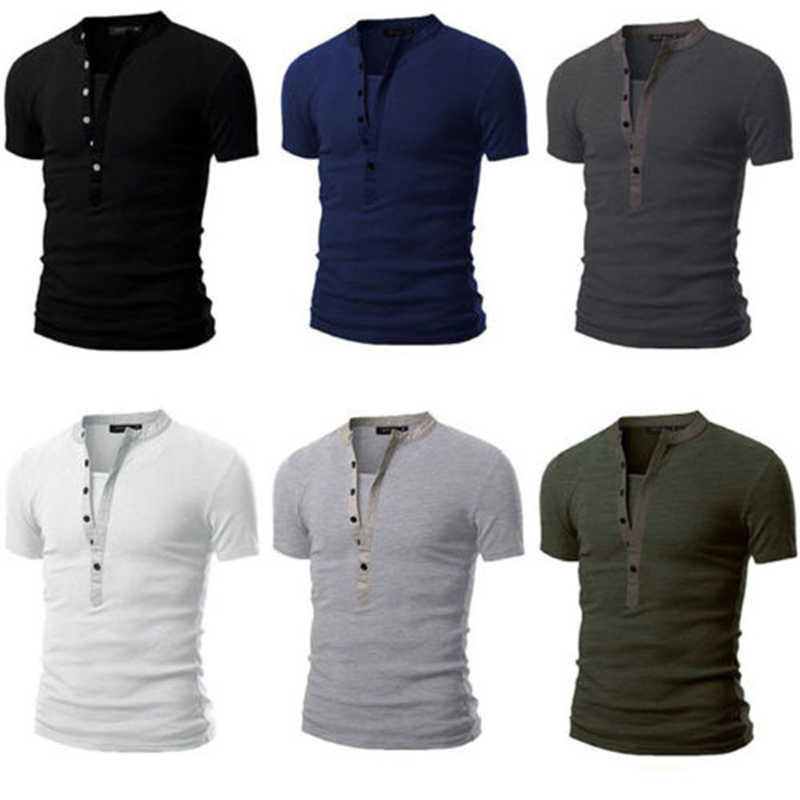 Uomo Slim Fit Button Tee Casual Con Scollo A V Manica Corta T-Shirt Muscle Henley Camicette Solido Degli Uomini Confortevole T-Shirt Morbida