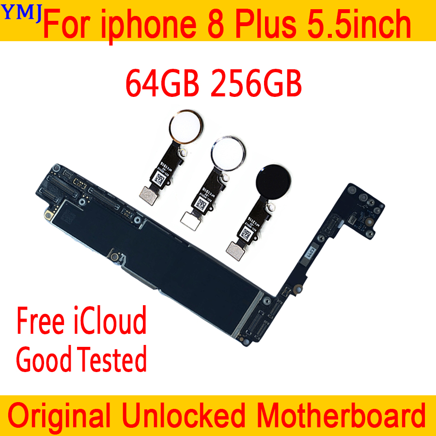 For <font><b>iphone</b></font> <font><b>8</b></font> Plus 5.5 inch Original unlocked <font><b>Motherboard</b></font> <font><b>with</b></font> <font><b>Touch</b></font> <font><b>ID</b></font>, for <font><b>iphone</b></font> <font><b>8</b></font> Plus 8p Logic board 64G 256G Plate image