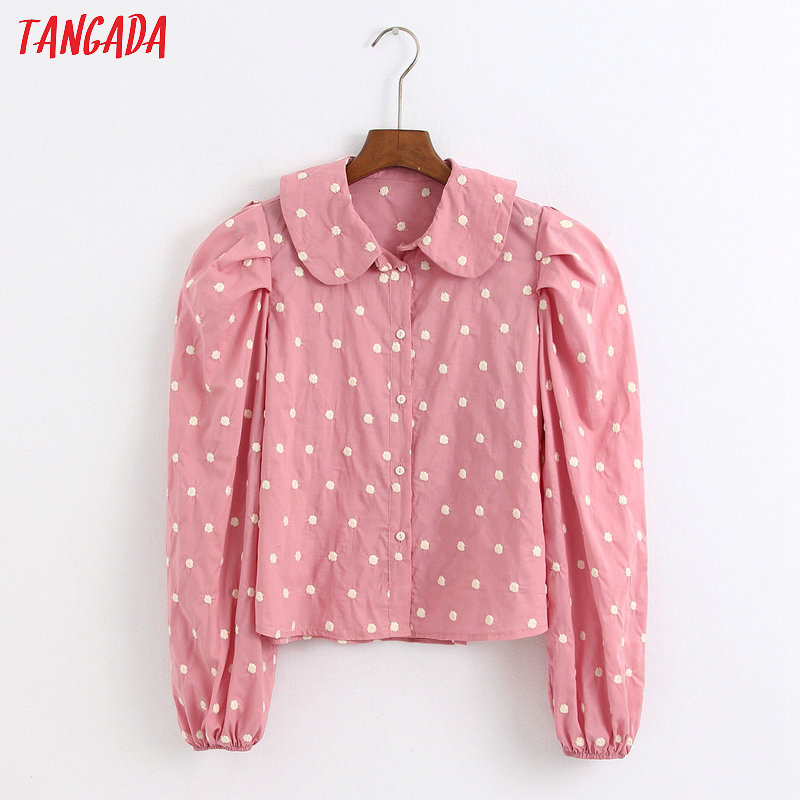 Tangada Women Retro Pink Dots Emebroidery Blouse Long Sleeve Sweet Peter Pan Collar Shirt Blusas Femininas 6Z43