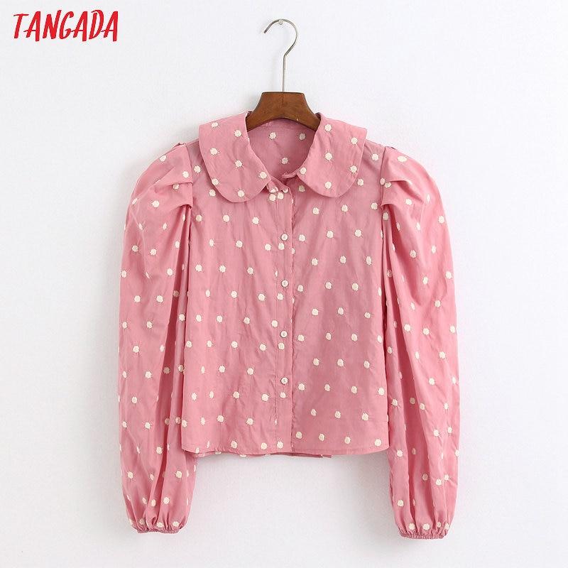 Tangada Women Retro Pink Dots Emebroidery Blouse Long Sleeve Sweet Peter Pan Collar Shirt Blusas Femininas 6Z43