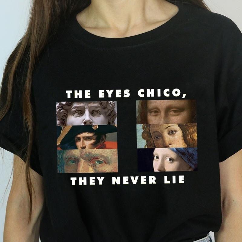 Женская футболка на Хеллоуин с изображением глаз Chico Then Never Like Женская летняя футболка Harajuku модные футболки