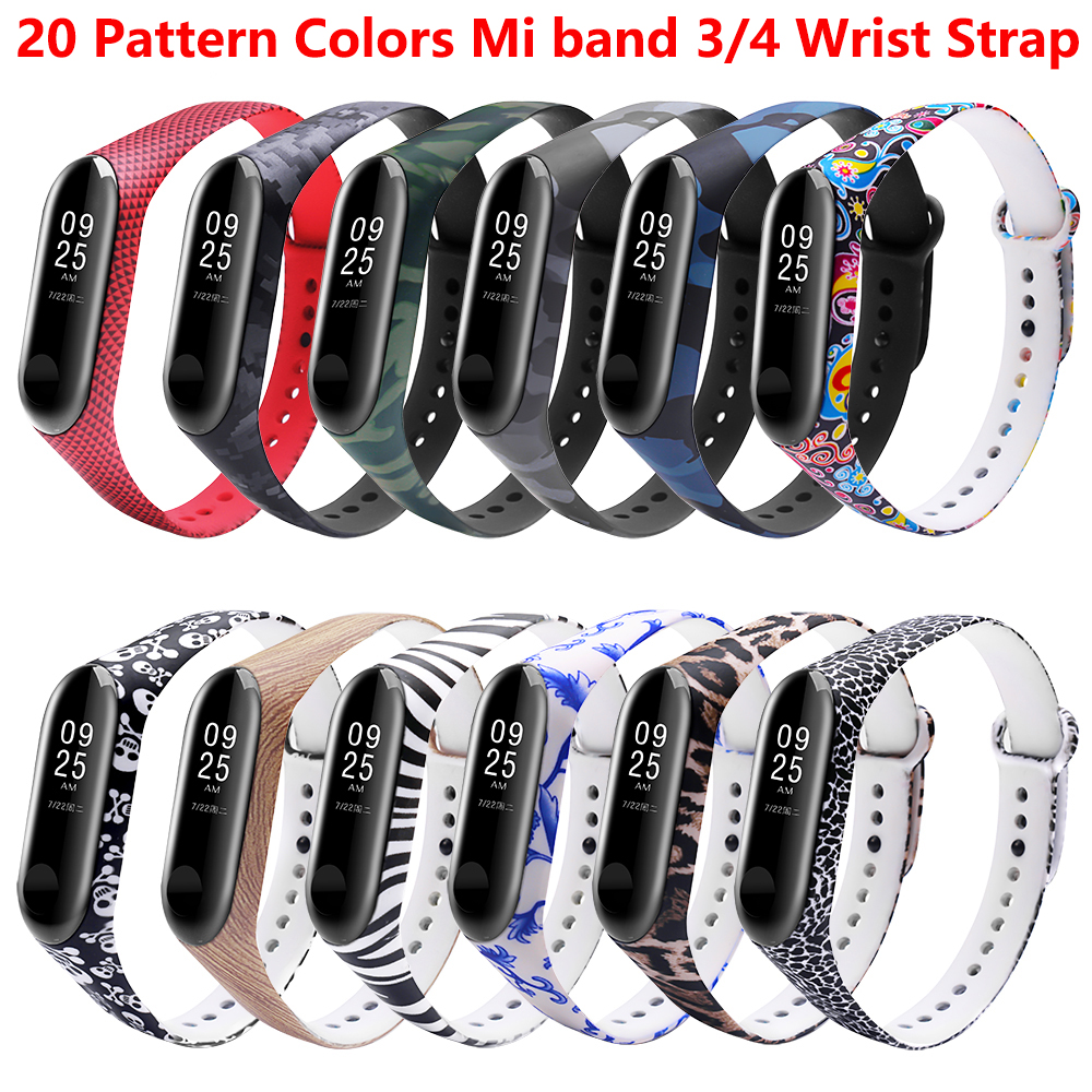 Printing Flowers Colorful Mi Band 3 4 Wrist Strap For Xiaomi Mi 3 4 Smart Bracelet Pulseira For Miband 3 4 Strap Replacement