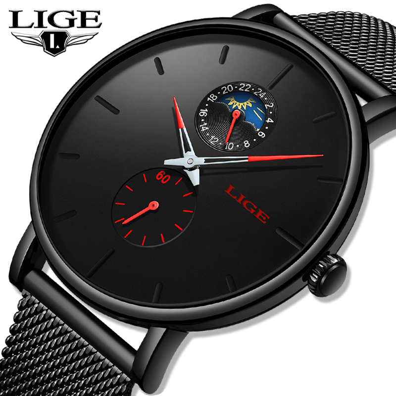 2019 New LIGE Fashion Mens Watches Top Brand Luxury Male Casual Thin Date Dial Quartz Watch Men Mesh Waterproof Sport Clock Box in Quartz Watches from Watches