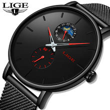 2019 New LIGE Fashion Mens Watches Top Brand Luxury Male Casual Thin Date Dial Quartz Watch Men Mesh Waterproof Sport Clock+Box men watches luxury brand thin quartz watches men leather casual day date clock slim mesh stainless steel waterproof sport watch
