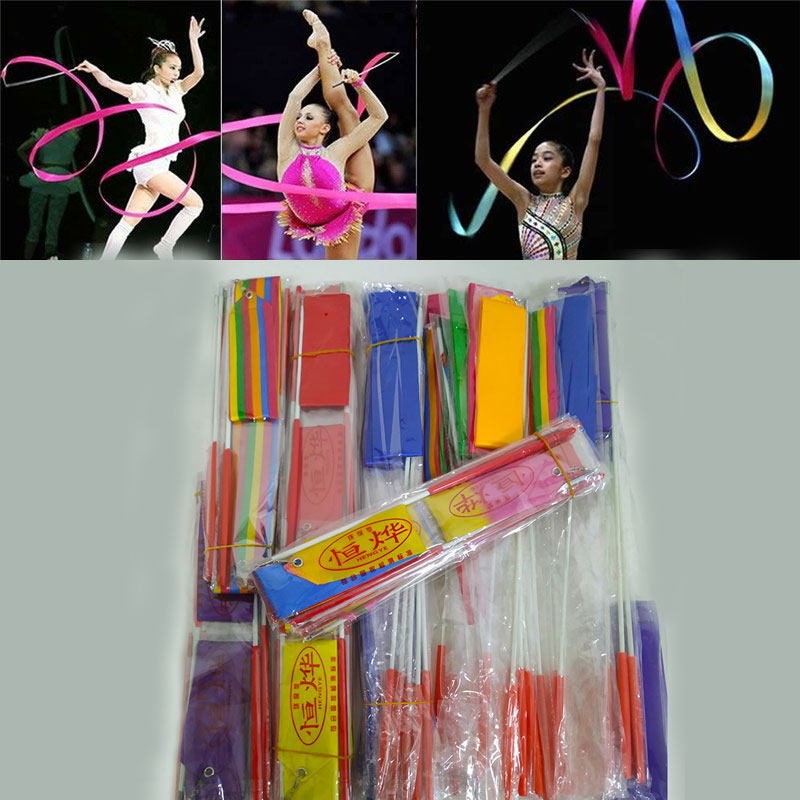 2 Meters 4 Meters Colorful Gym Ribbons Dance Ribbon Rhythmic Art Gymnastics Ballet Streamer Twirling Rod Stick Training C