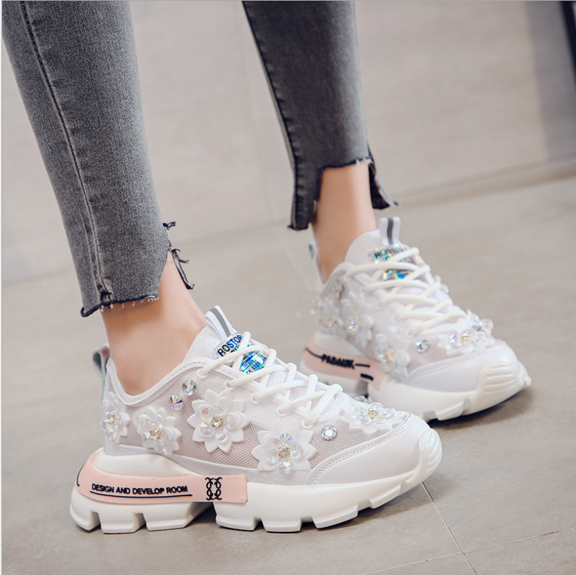 2020 New Chunky Sneakers Fashion Crystal Women Vulcanize Shoes Comfort Women Shoes White Sneakers Walking Platform Sneakers Fema