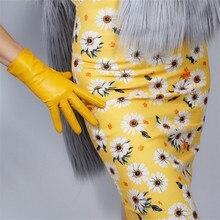 タッチスクリーンリアル革手袋 25 センチメートルショート純粋な輸入ゴートスキン女性薄型ぬいぐるみ裏地生姜黄色高輝度黄色 WZP01 2