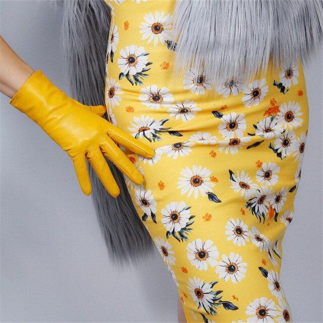 Touch Screen Echt Leder Handschuhe 25cm Kurze Reine Ziegenleder Importiert Weibliche Dünne Plüsch Gefüttert Ingwer Gelb Helle Gelb WZP01 2