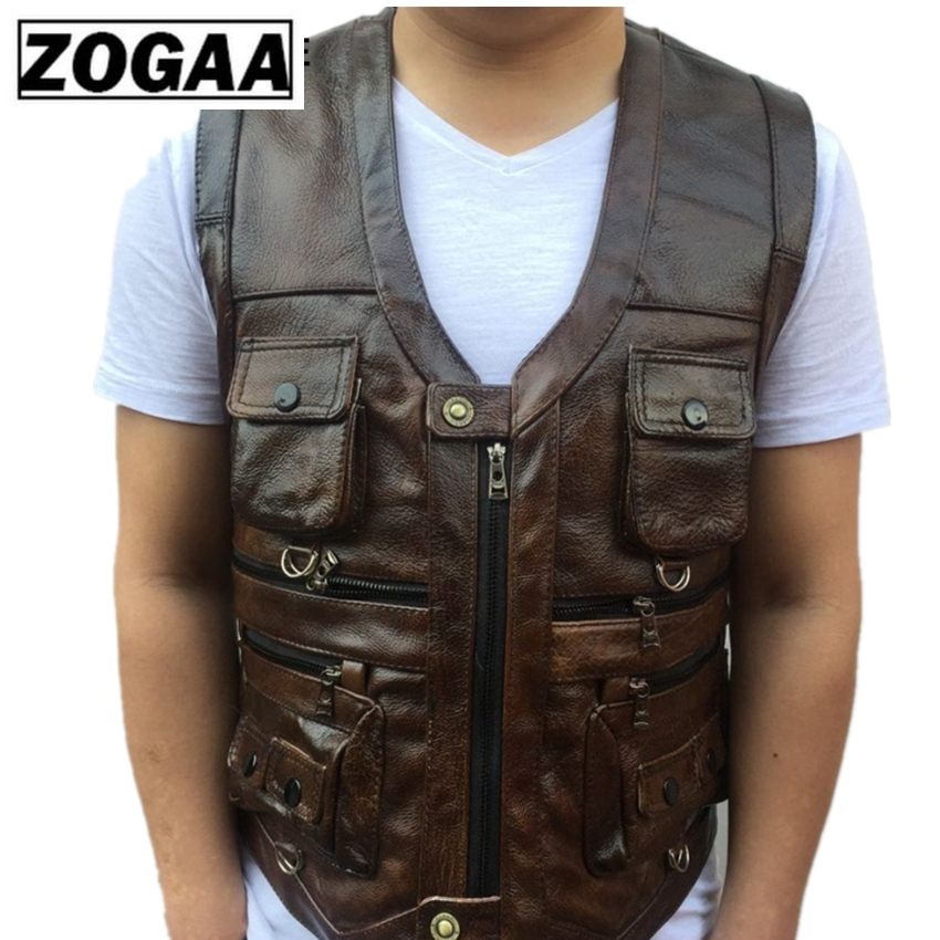 Image 3 - ZOGAA Vest Mens Leather Waistcoat Real Leather Motorcycle Vest With Many Pockets Photography Vest Sleeveless Jacket-in Vests & Waistcoats from Men's Clothing