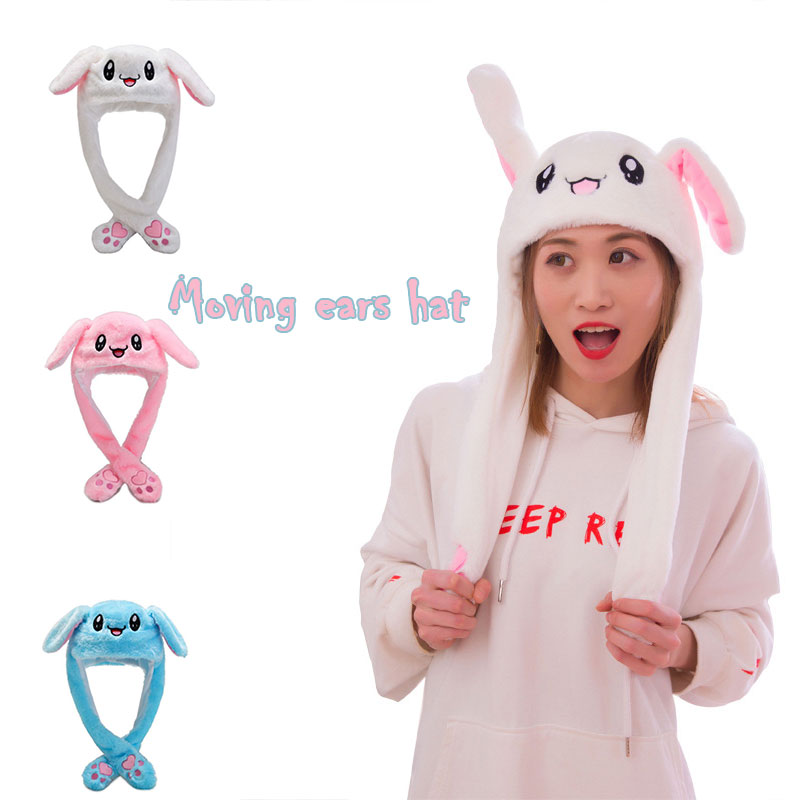 Rabbit Hat With Moving Ears Cute Cartoon Toy Hat Airbag  Funny Toy Cap Kids Plush Toy Birthday  Child Toys Gift  Hat For Girls