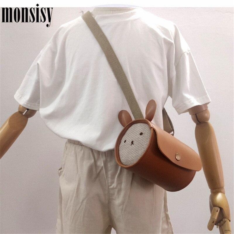 Monsisy 2020 Girl Boy Handbag Coin Purse Bag Children Wallet Kid Small Change Pouch Fashion PU Rabbit Round Crossbody Beach Bag