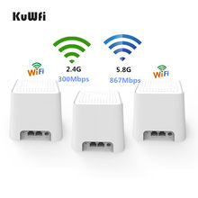 KuWFi Wireless Gigabit Mesh Wifi Router Dual-band 2.4/5Ghz AC1200 Ganze Hause WiFi Mesh System Gigabit WI-FI Repeater Router(China)