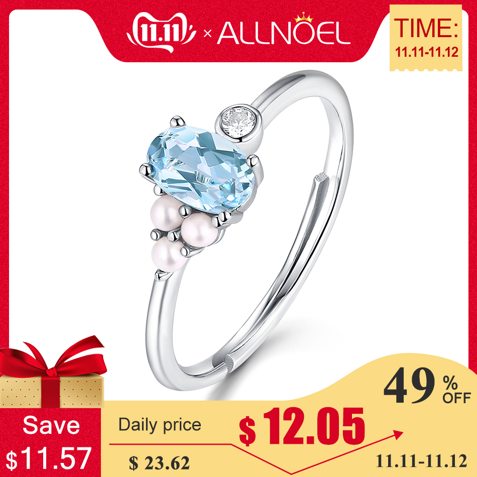 ALLNOEL Real 925 Sterling Silver Rings For Women 100% Natural Blue Topaz Pink Rose Quartz Pearl Rings Wedding Fine Jewelry 2019