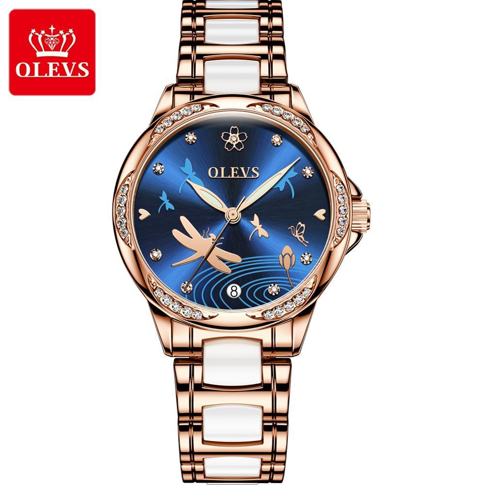OLEVS Watch Women Mechanical Ceramics Rhinestone Date Watches Luxury Bracelet Waterproof Wristwatch Elegant  Automatic Clock