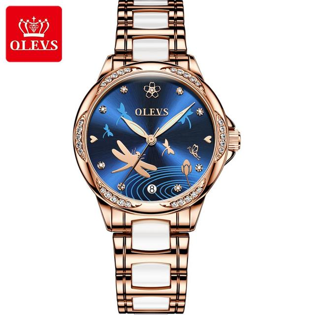 OLEVS נשים שעון מכאני קרמיקה ריינסטון תאריך שעוני יוקרה צמיד עמיד למים שעוני יד אלגנטי אוטומטי שעון
