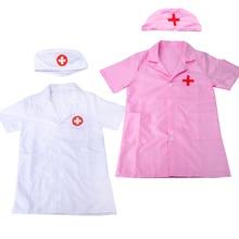 Nurse Cosplay Costume Robe Doctor Children's Girl Boy White Short-Sleeve Party-Coat Halloween