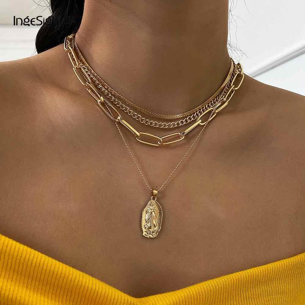 Rhinestone Religious Necklace Catholic Pendant Choker Women Men Clavicle Chain