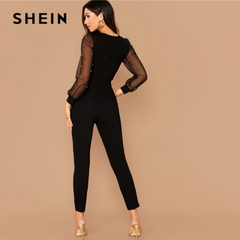 SHEIN Black Pearls Mesh Sleeve Form Fitted Jumpsuit Without Belt Women Spring O-Neck High Waist Carrot Cropped Elegant Jumpsuits Jumpsuits Women's Women's Clothing