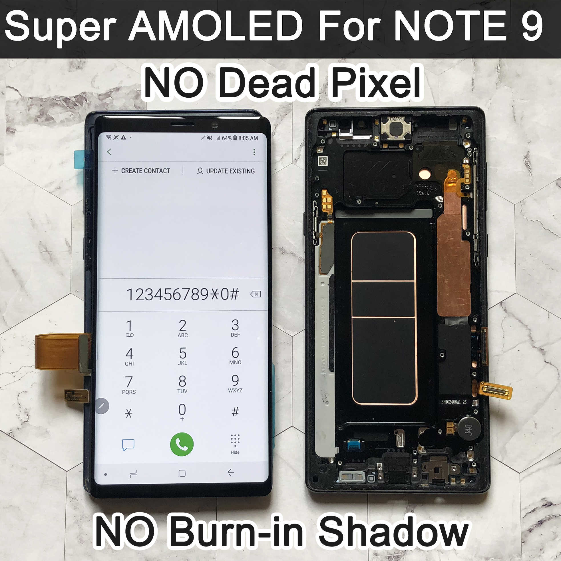 SUPER AMOLED 6.4 ''LCD สำหรับ SAMSUNG GALAXY Note 9 LCD สำหรับ Note9 N960F จอแสดงผล Touch Screen Digitizer ASSEMBLY LCD