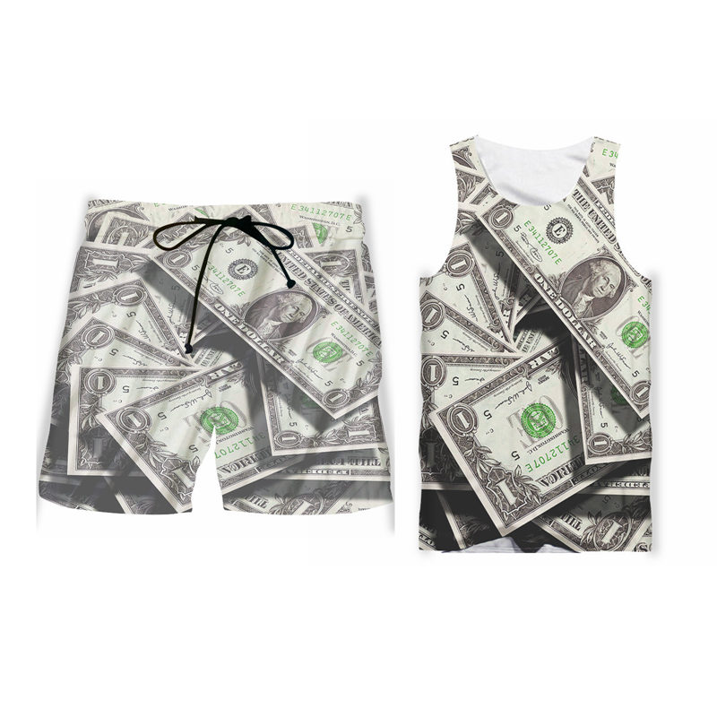 Custom S-6XL US Dollar 3D Tank Tops Gym Board Shorts Set Men Women Sleeveless Workout Vest Unisex Funny Print Money Outfits Sets (7)