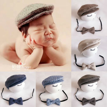 Baby Newborn Peaked Cute Newborn Baby Boy Beanie Cap Photography Props Outfit Cotton Hat Accessories image