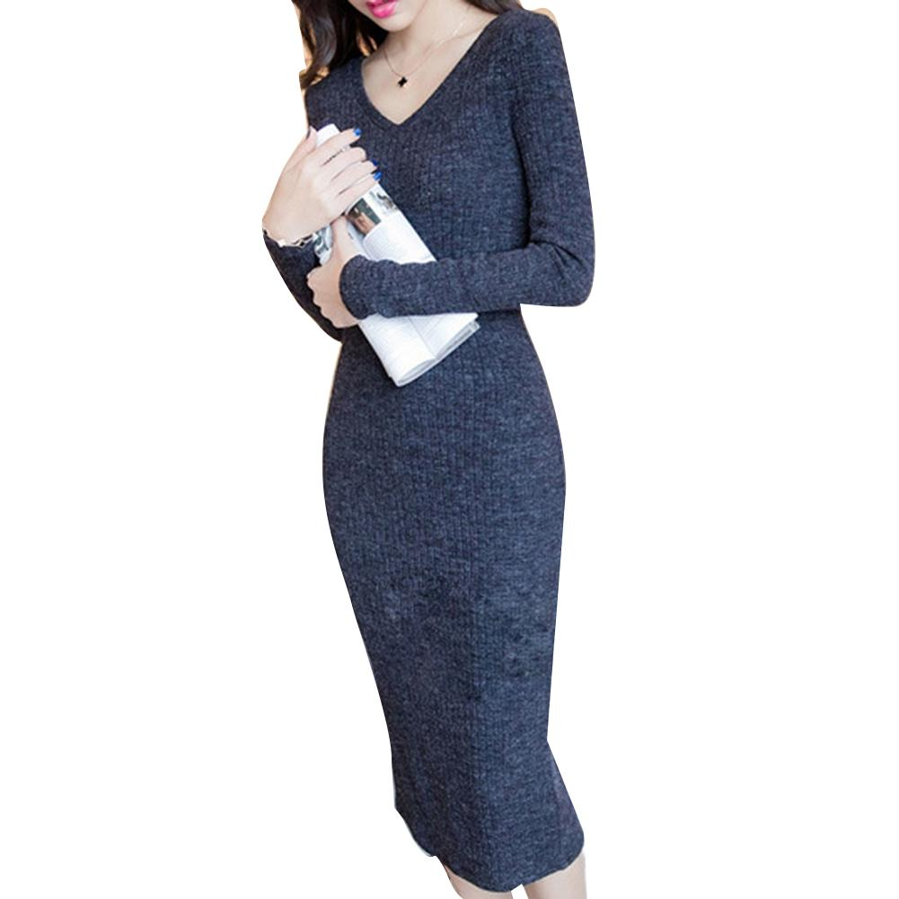 Vintage Women Long Sleeve V Neck Ribbed Knitted Splitting Slim Bodycon Midi Dress