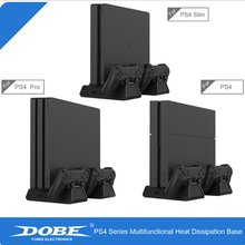 For PS4/PS4 Slim/PS4 Pro Vertical Stand with Cooling Fan Dual Controller Charger Charging Station SONY Playstation 4 Cooler