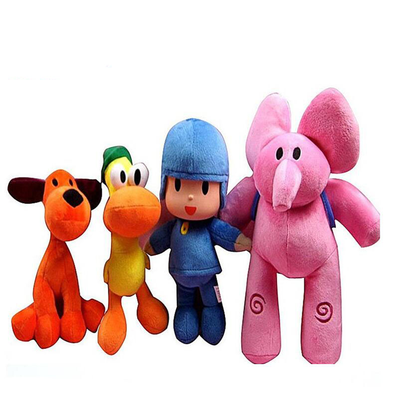4pcs/lot Full Set 21-30cm Pocoyo Elly Pato POCOYO Loula Plush Toys Stuffed Soft Animal Toys Doll For Kids Birthday X-mas Gifts