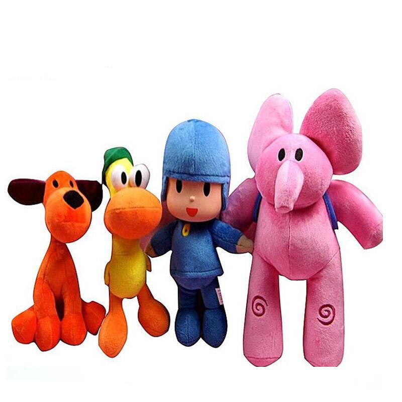 4pcs/lot Full Set 21-30cm Pocoyo Elly Pato POCOYO Loula Plush Toys Stuffed Soft Animal Toys Doll For Kids Birthday X-mas Gifts