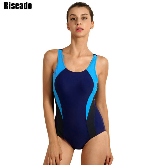 Riseado Sports One Piece Swimsuit 2019 Competition Swimwear Women Patchwork Swimming Suits for Women Racerback Bathing Suits Ladies swimsuits