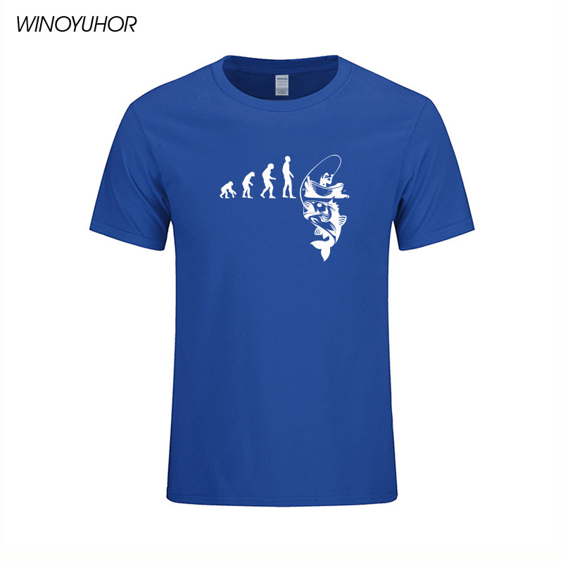 New Evolution Fishinger Tee Shirt Men Summer Fish Joke Fisherman Carp T-shirts Cotton Summer Short Sleeve Funny Gift T-shirt