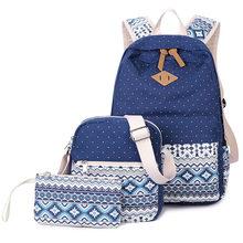 Dot Printing Canvas Backpack for Women Bag Backpack Teenage Girls and Boys School Backpack 3 pcs стоимость