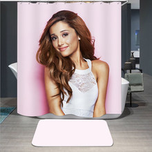Popular Singer Ariana Grande 3D Print Shower Curtain Polyester Fabric Bathroom Curtain Waterproof Hook Bath Curtain 01(China)