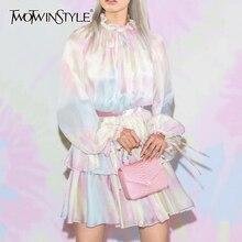 TWOTWINSTYLE Elegant Print Women Dress Stand Collae Lantern