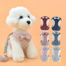Soft Pet Dog Harness Vest With Bowknot Adjustable Chihuahua Puppy Cat Harness Leash Set For Teddy Small Dogs Coat Pet Supplies