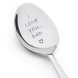 I Love You Dad Engraved Ice Cream Spoon Coffee Blender Kitchen Tool Father Gift Best dad gifts from daughter or Fathers day gift