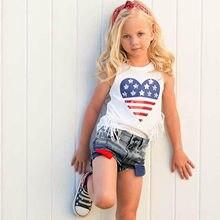 Bebê da criança meninas conjuntos de roupas verão 4th-of-julho borlas topos + shredded denim shorts roupas para crianças roupas para meninas