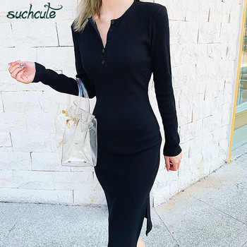 Knit women Dress with button slit Modis solid spring 2020. Long Sleeve dresses vestidos bodycon. Femme casual outfits 1