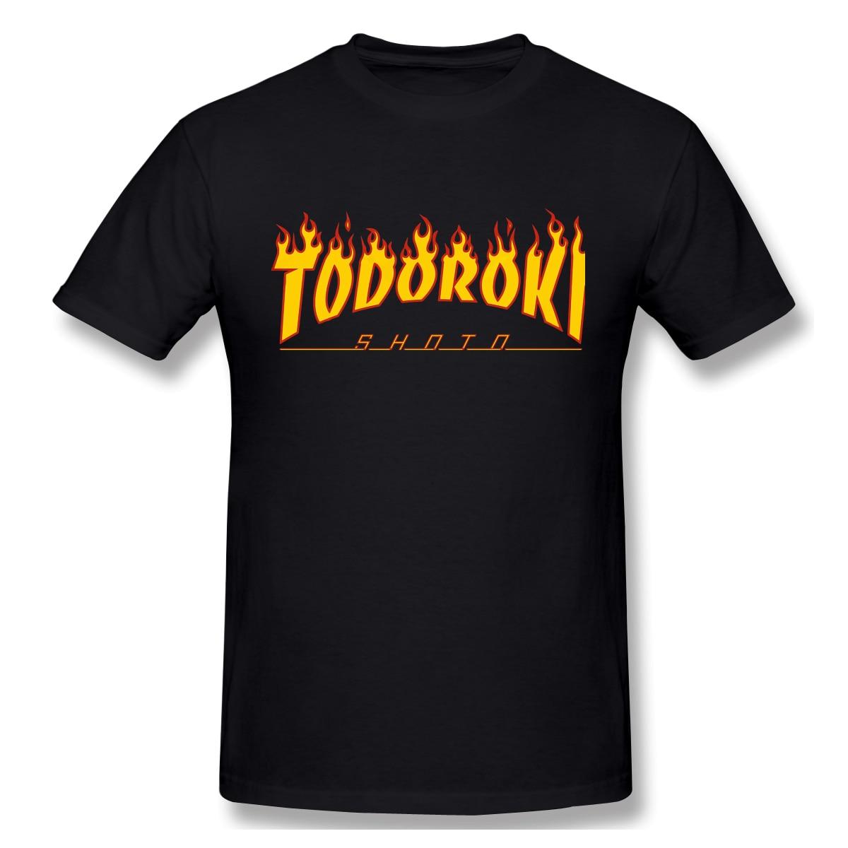 Bakugo Katsuki Men Shirt Tops Humorous Cotton Tees Todoroki Shoto Thrasher Fire Shirts Round Collar Clothing Gift Idea Plus Size