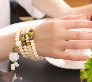 Image 3 - Original Design Natural White Bodhi Root Beads Bracelet Lotus 108 Lotus Mala Healing Prayer Bracelet for Women Jewelry Gift