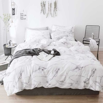 Marble Patterned Bedding Set Quilt Cover Pillow Case 3 Piece Set Single Bed King Bed Cotton Quilt Cover (No Sheets Are Not Fille